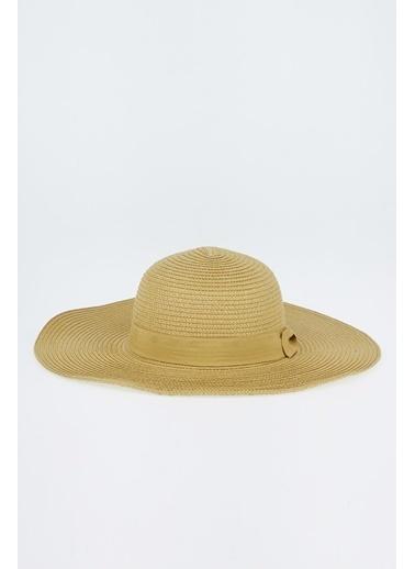 DeFacto Kadın Şerit Detaylı Hasır Şapka Bej